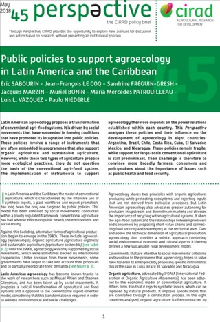Just published : 'Public policies to support agroecology in Latin America and the Caribbean' (May 2018 – Issue 45 of 'Perspective', CIRAD policy brief)
