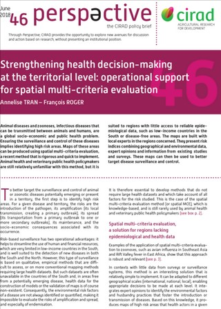 Just published : 'Strengthening health decision-making at the territorial level: operational support for spatial multi-criteria evaluation' (June 2018 – Issue 46 of 'Perspective', CIRAD policy brief)